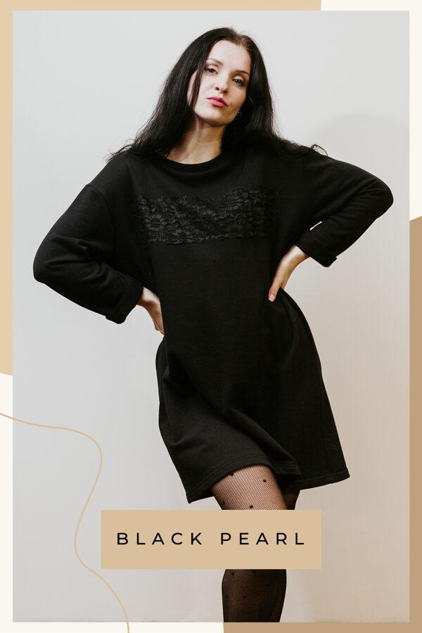 Kokvilnas trikotāžas kleita – melna/mežģīne
