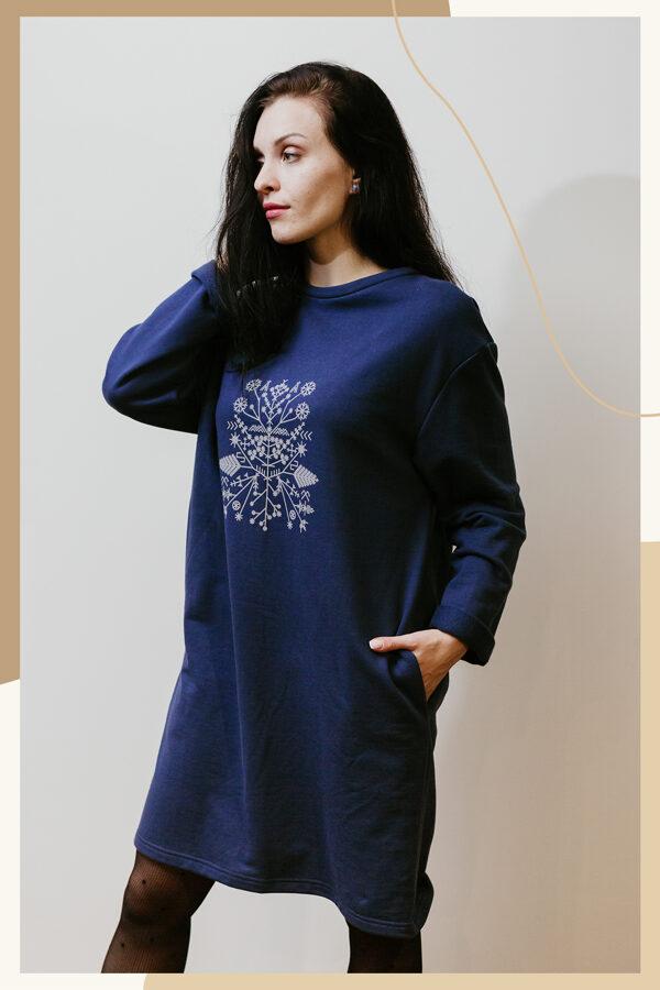 Kokvilnas trikotāžās kleita - tumši zila