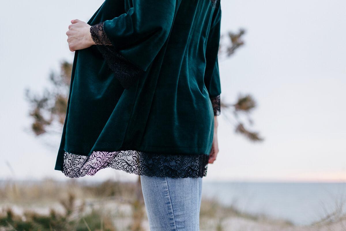 Samta kimono/halāts - meža zaļš