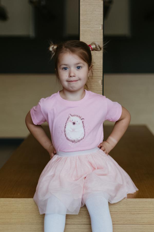 Bērnu t-krekls Ezītis / gaiši rozā