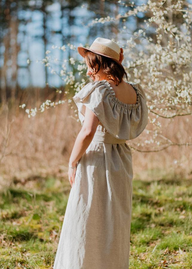 Lina- kokvilnas kleita – gaiši pelēka