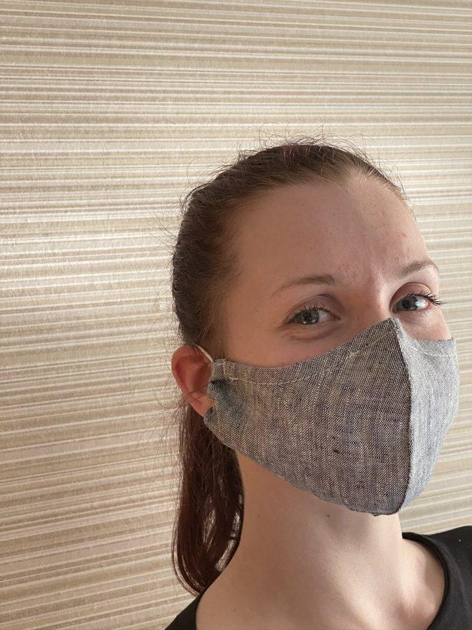 """2 kārtu lina maska ar """"deguna turētāju"""" un kabatu, filtra ievietošanai,  tumši pelēka"""