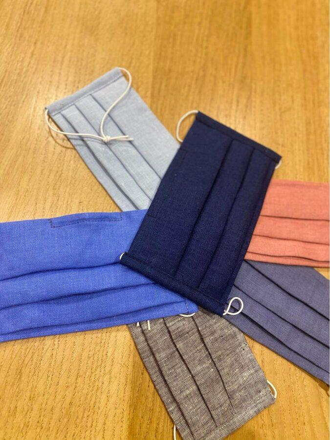 """2 kārtu lina  maska ar """"deguna turētāju"""" kabatu, filtra ievietošanai. Dažādas krāsas. T.29289050"""