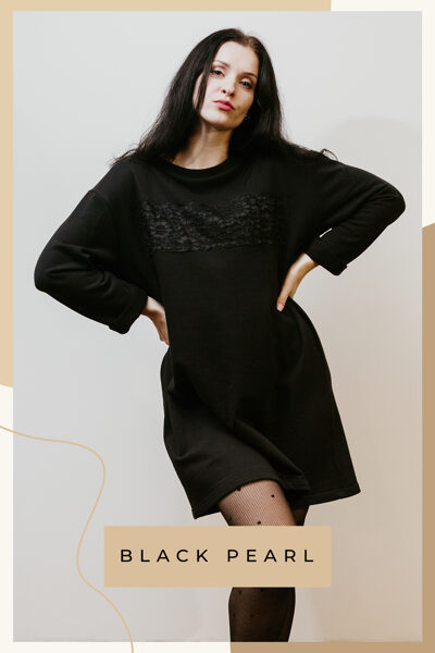 Cotton knitwear dress - black/lace