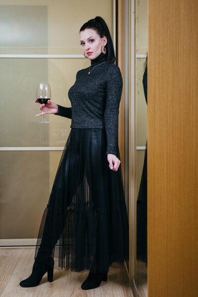 Tulle top skirt - black