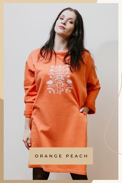 Cotton knitwear dress - orange