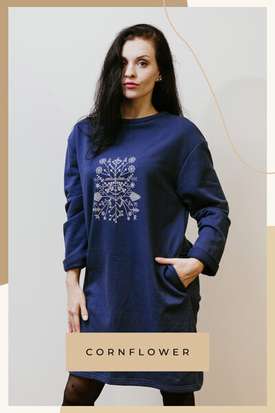 Cotton knitwear dress - blue/with pockets