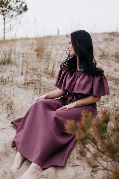 Linen shoulder dress - dark plum purple