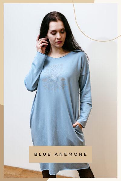 Cotton knitwear dress - light blue