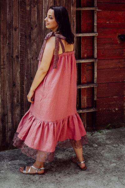 Gara lina kleita – punša rozā