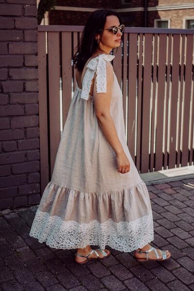 Gara lina kleita – gaiši pelēka