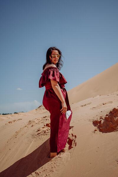 SALE 🛍️ Linen shoulder dress - carmine red 🛍️ SALE
