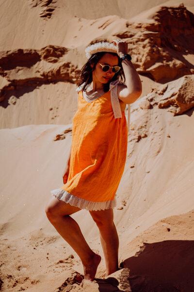 Mini lina kleita - oranža