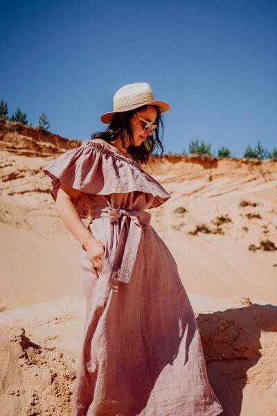 SALE 🛍️ Linen shoulder dress - dusty pink 🛍️ SALE