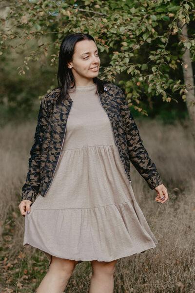 Linen knitwear dress – urban taupe