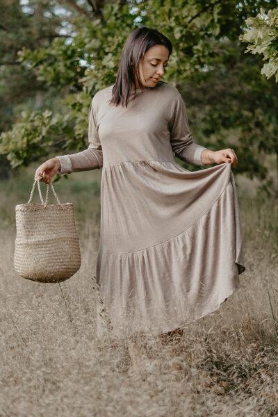 Linen knitwear long dress - urban taupe