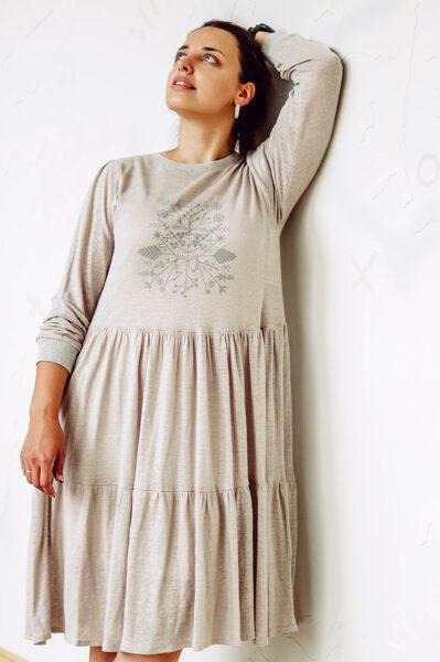 Linen knitwear dress - beach sand colour