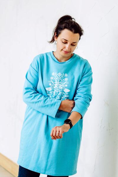 Kokvilnas trikotāžas džemperis/kleita – bright blue