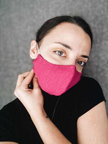 3-layer linen mask with pocket for filter insertion, dark rose with a small pattern