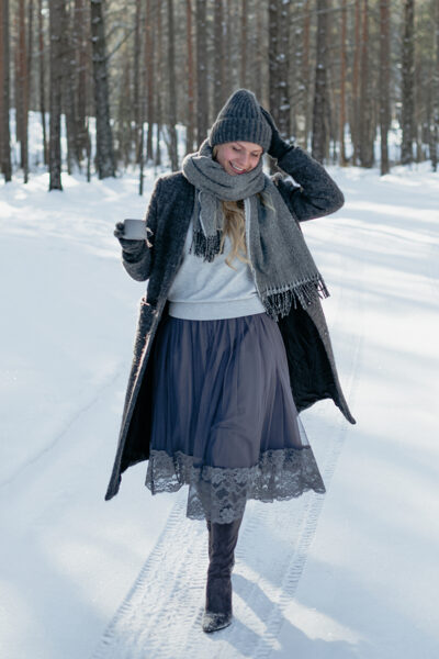 Tulle skirt - grey/lace