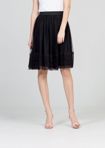 Tulle skirt - black/lace