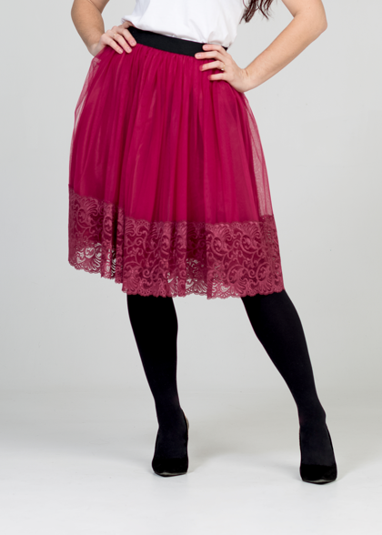 Tulle skirt - raspberry/lace