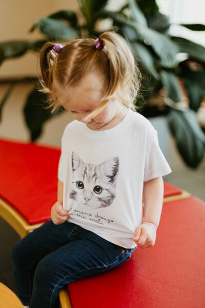 Children's t-shirt Kitten / white