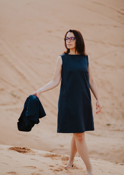Dress with texture and pockets - dark blue