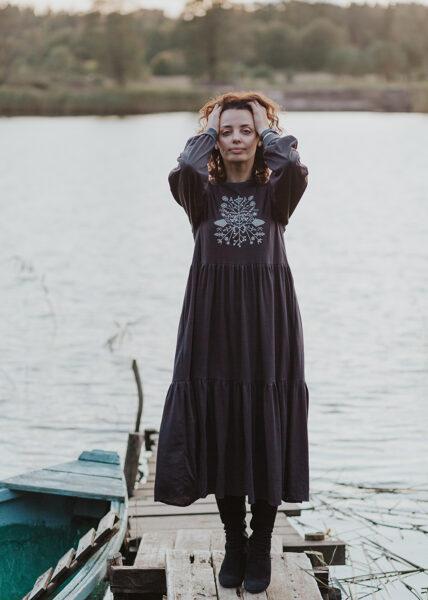 Cotton knitwear dress - dark grey
