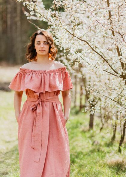 Linen dress – rose pink