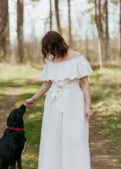 Linen dress – white