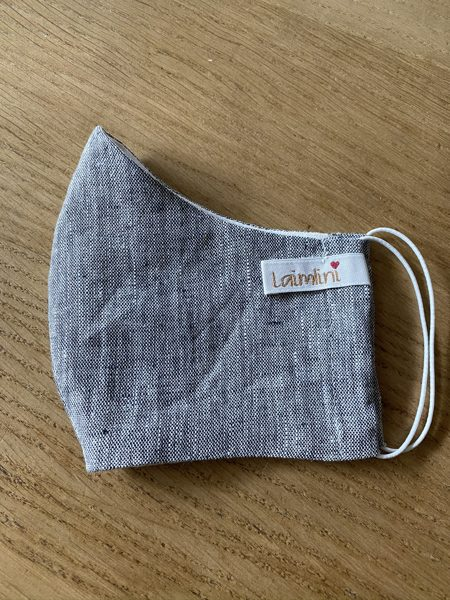 2-layer linen mask with pocket for filter insertion, dark grey with a small pattern