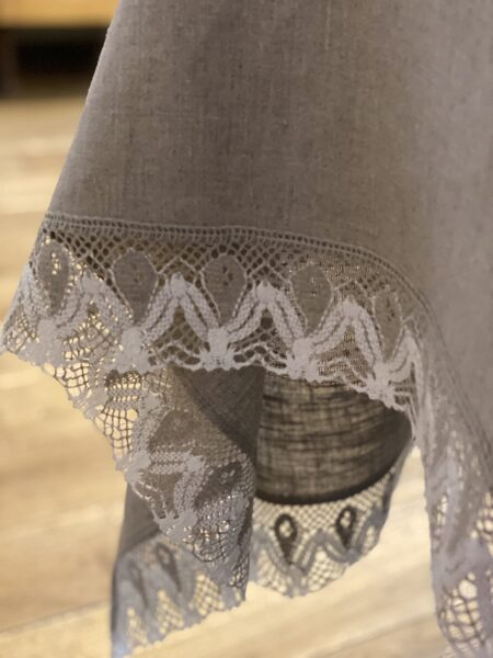 Linen tablecloth with linen lace