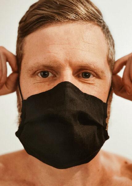 2 layer linen face mask - black